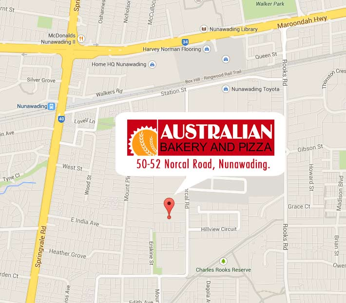 Location map for Australian Bakery and Pizza